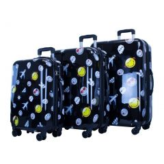 ATM Luggage Black Happy Travel Double Zipper 3 Pc Carry-on Set