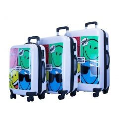 ATM Luggage White Smiley Comic Zipper 3 Pc Carry-on Set