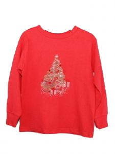 Little Kids Unisex Red Gold Presents Christmas Tree Long Sleeve T Shirt 2T-6