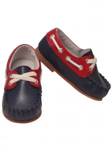 L`Amour Baby Boys Navy Red Hudson Boat Shoes 2-4 Baby