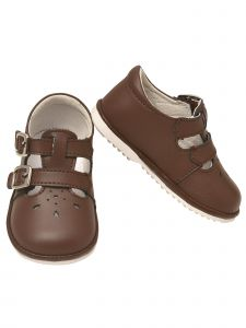 Angel Baby Girls Brown Perforated Double Buckle Mary Jane Shoes 1-4 Baby
