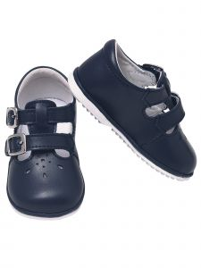 Angel Baby Girls Navy Perforated Double Buckle Mary Jane Shoes 1-4 Baby