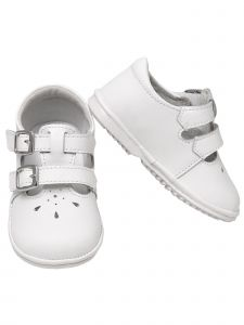 Angel Baby Girls White Perforated Double Buckle Mary Jane Shoes 1-4 Baby