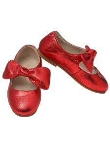 L`Amour Little Girls Red Celia Knotted Bow Mary Jane Shoes 5-10 Toddler
