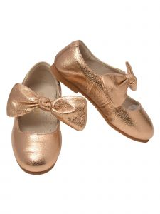 L`Amour Big Girls Rose Gold Celia Knotted Bow Mary Jane Shoes 11-2 Kids