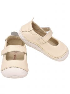 L`Amour Baby Girls Cream Hook and Loop Sporty Mary Jane Shoes 2-4 Baby