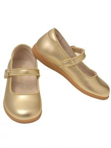 L`Amour Big Girls Gold Buckle Mary Jane Dress Shoes 11-2 Kids