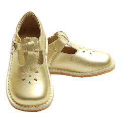 Toddler Little Girl Gold T Strap Buckle Flower Cut Out Dress Shoe 5-2
