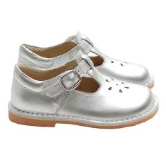Silver T Strap Buckle Flower Cut Out Toddler Girl Shoes 5-2