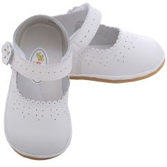Angel Baby Girls 3 White Punched Flower Mary Jane Shoes