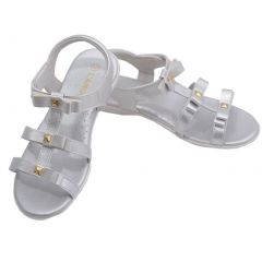 L'Amour Toddler Girls Silver Studded Bow Straps Sandals 7-10 Toddler