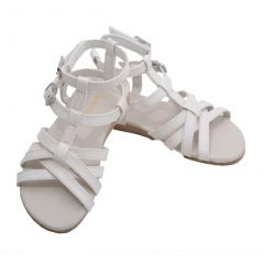 L'Amour Toddler Girls White Faux Python Gladiator Sandals 7-10 Toddler