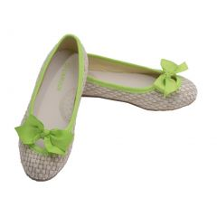L'Amour Toddler Girls Lime Faux Straw Bow Fashion Flats 7-10 Toddler