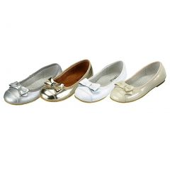 Toddler Girls Silver Patent Toe w/ Bow Slip On Flat Shoes Size 8
