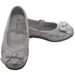 L'Amour Silver Glitter Bow Strap Ballet Slipper Shoe Toddler Girl 5-10