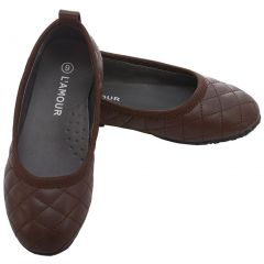 L 'Amour Brown Quilted Slip On Flat Fall Dress Shoes Little Girls 11-4