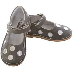L'Amour Grey Silver Dot Strap Mary Jane Shoe Little Girl 11-12