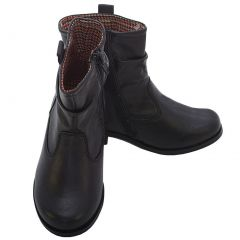 L' Amour Black Leather Mid Ankle Zip Fashion Boots Little Girls 11-2