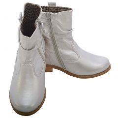 L' Amour Metallic Silver Leather Mid Ankle Zip Boots Toddler Girl 7-10