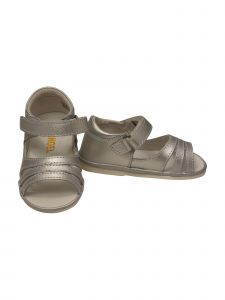 Angel Toddler Girls Silver Strap Hook And Loop Strappy Sandals 5-7 Toddler