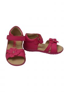 Angel Baby Girls Fuchsia Flower Hook And Loop Sporty Sandals 3-4 Baby