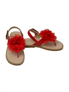 L`Amour Girls Red Organza Flower Thong Sandals 11-4 Kids