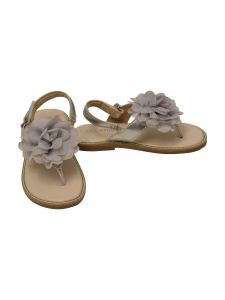 L`Amour Girls Silver Organza Flower Thong Sandals 11-4 Kids