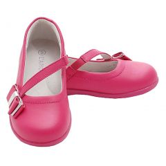 Fuchsia Bow Mary Jane Style Strap Shoes Toddler 5-Little Girls 2