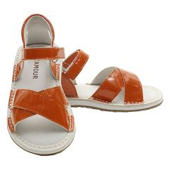 Patent Tangerine Criss Cross Adjustable Sandals Little Girl 5-2