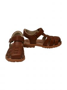 Boys Brown Hook And Loop Lug Sole Leather Fisherman Sandals 11-2 Kids