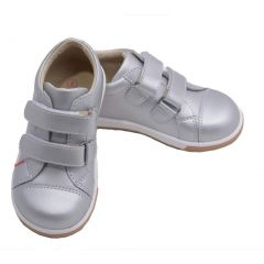 L'Amour Toddler Girls Silver Double Strap Leather Sneakers 4-10 Toddler