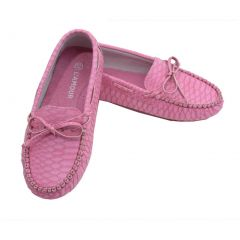 L'Amour Toddler Girls Fuchsia Bow Leather Moccasin 7-10 Toddler