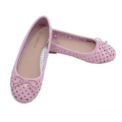 L'Amour Toddler Girls Pink Perforated Bow Ballet Flats 7-10 Toddler