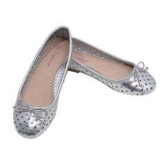 L'Amour Toddler Girls Silver Perforated Bow Ballet Flats 7-10 Toddler