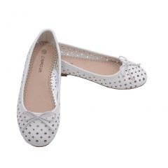 L'Amour Toddler Girls White Perforated Bow Ballet Flats 7-10 Toddler