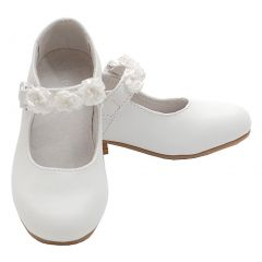 White Mary Jane Flower Accent Flat Dress Shoes Toddler Little Girl 7-4