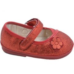 Angel Girls Glitter Red Flower Kimono Strap Mary Jane Shoes 1-3 Baby