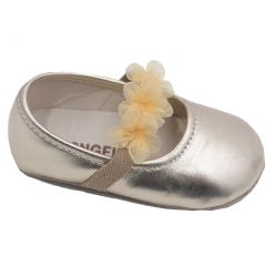 Angel Girls Gold Organza Flower Elastic Strap Crib Shoes 0-5 Baby