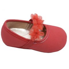 Angel Girls Red Organza Flower Elastic Strap Crib Shoes 0-5 Baby