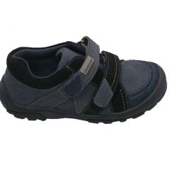L'Amour Little Boys Grey Navy Two Toned Double Sneakers 5-10 Toddler