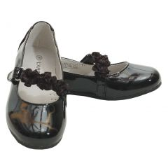 L'Amour Black Patent Floral Dress Shoe Toddler Girl 5-Little Girl 2