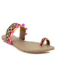 Indios Adult Yellow Multi Color Geometric Design Thong Sandals 6-10 Womens