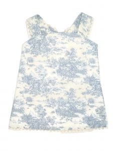 Coquelicot Little Girls White Blue Floral Print Jeans Isabella Dress 2-5T