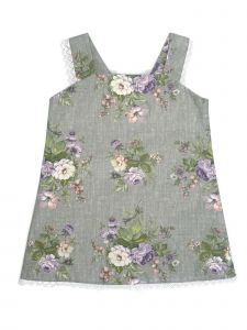 Coquelicot Little Girls Gray Floral Print Viella Malva Isabella Dress 2-5T