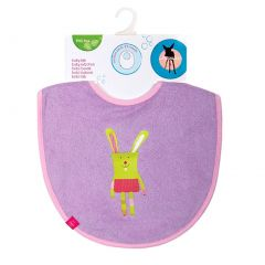 Lassig Baby Girls Solid Lilac Bunny Medium Bib