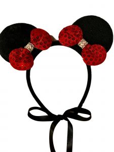 Sinai Kids Girls Black Minnie Mouse Red Sequin Bow Detail Headband Fancy Diadem