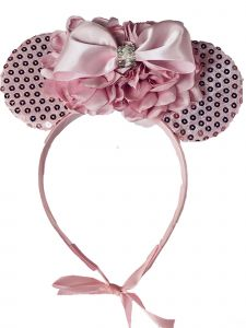 Sinai Kids Girls Pink Sequin Minnie Mouse Carnation Bow Headband Fancy Diadem