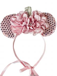 Sinai Kids Girls Pink Sequin Minnie Mouse Carnation Headband Fancy Diadem