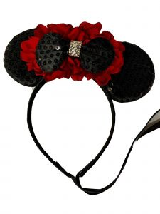 Sinai Kids Girls Black Sequin Bow Minnie Mouse Red Carnation Headband Diadem