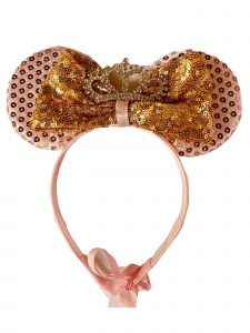 Sinai Kids Girls Pink Minnie Mouse Gold Sequin Bow Crystal Headband Fancy Diadem